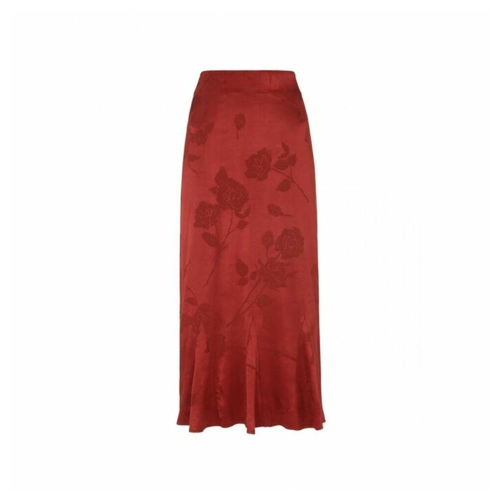 Kitri Marlow Rust Flare Skirt