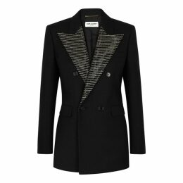 Saint Laurent Black Embellished Wool Blazer