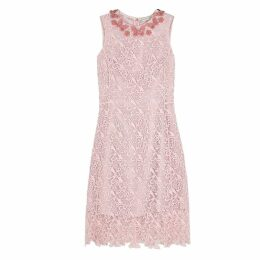 Mary Katrantzou Two Pence Light Pink Macramé Midi Dress