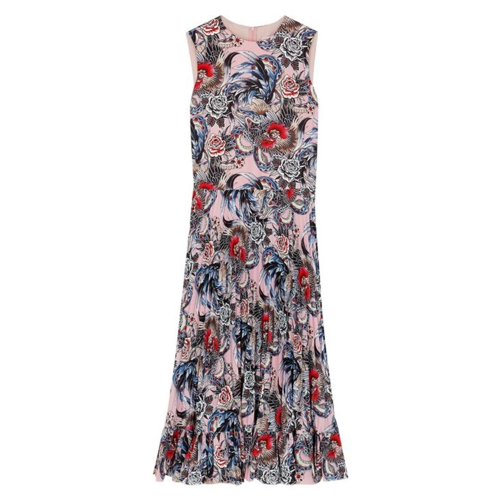 RED Valentino Tattoo-print Pleated Midi Dress
