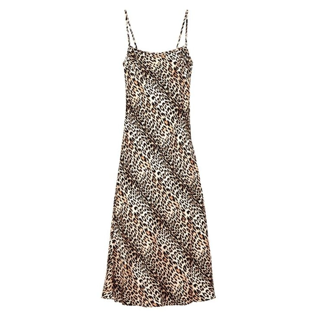 Bec & Bridge Feline Leopard-print Silk Midi Dress