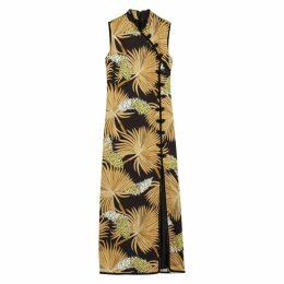 De La Vali Jean Palm-print Satin Midi Dress