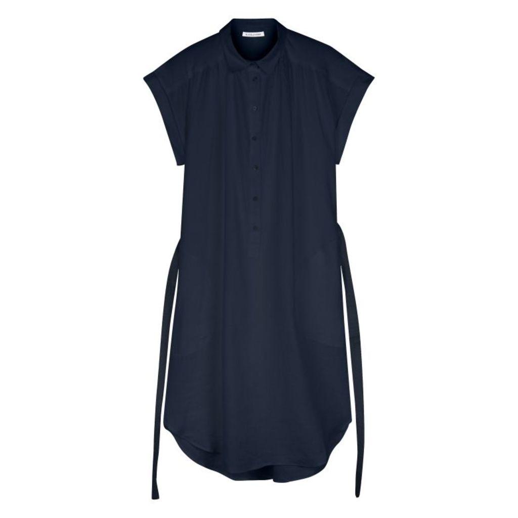 NICOLE FARHI Navy Alex Sleeveless Linen Shirt Dress