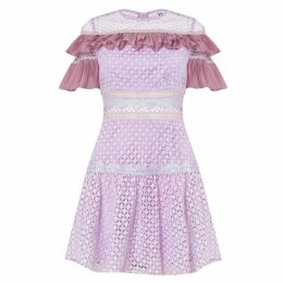 True Decadence Tonal Lilac Crochet Frill Mini Dress