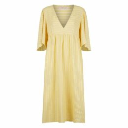Traffic People Exhale Cotton Midi Dress In Yellow