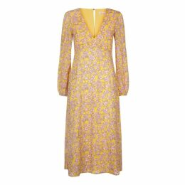 Traffic People Mama Mia Ditzy Floral Dress In Yellow And Pink