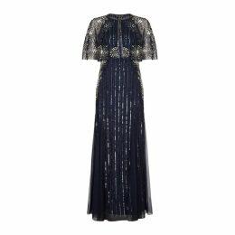 Adrianna Papell Beaded Capelet Dress Set