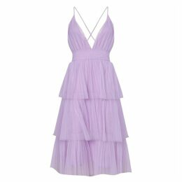 True Decadence Lilac Tiered Tulle Midi Dress