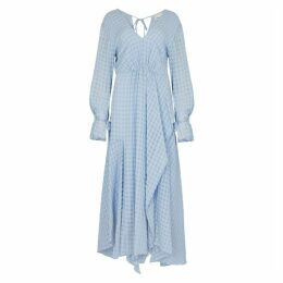 3.1 Phillip Lim Checked Blue Chiffon Maxi Dress