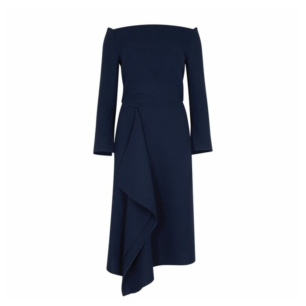 Roland Mouret Clover Navy Draped Wool Dress