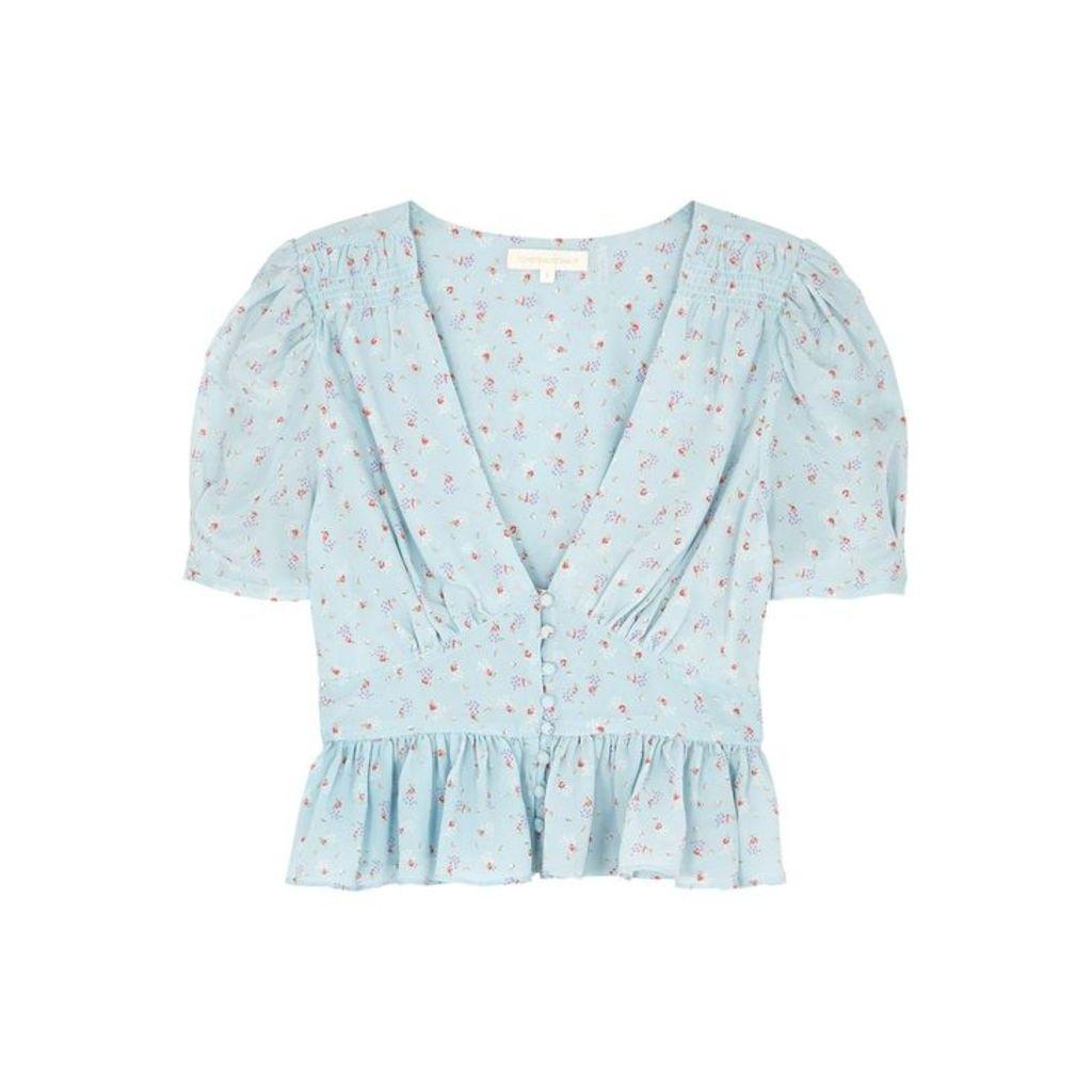 LoveShackFancy Steph Floral-print Light Blue Silk Top