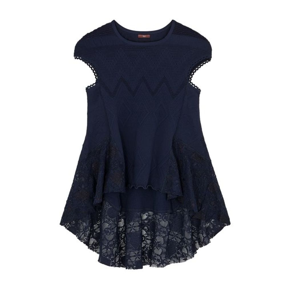 HIGH Excite Navy Stretch-knit Top