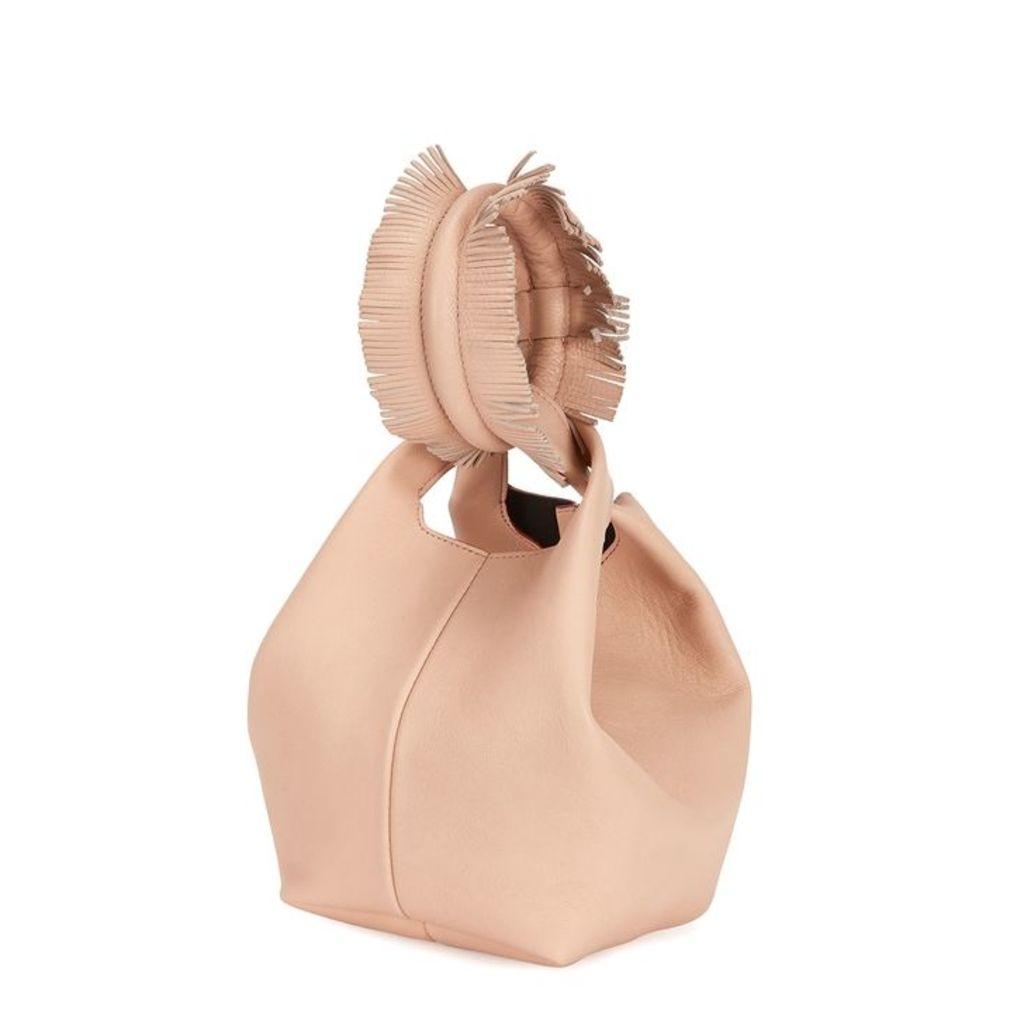 Elena Ghisellini Petite V Powder-pink Leather Clutch