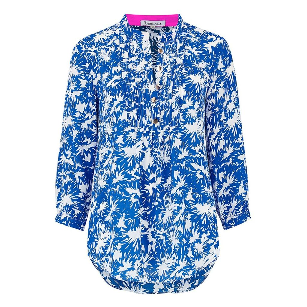 Libelula - Delphine Top Bright Blue Flower Splat Print