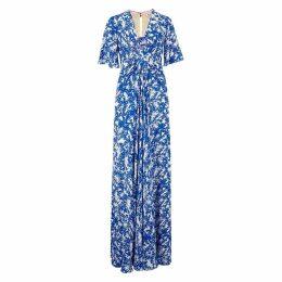 Libelula - Long Jessie Dress Bright Blue Flower Splat Print