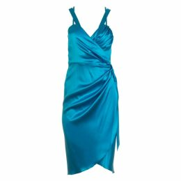 Roses Are Red - Lea Silk Wrap Dress In Blue