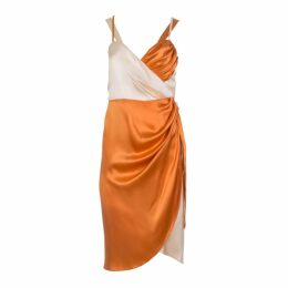 Roses Are Red - Lea Silk Wrap Dress In Coral & Ivory