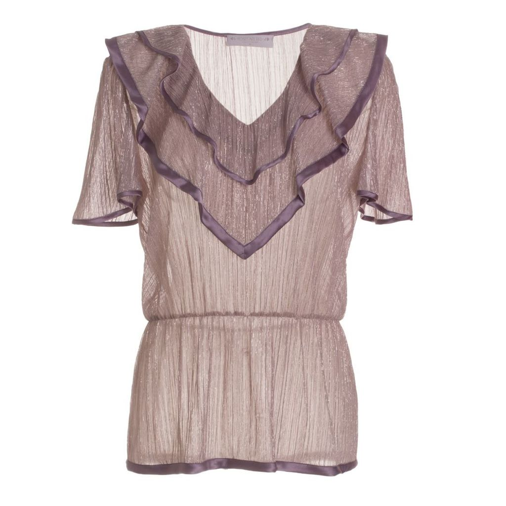 Roses Are Red - Estelle Silk Blouse In Metallic Pink