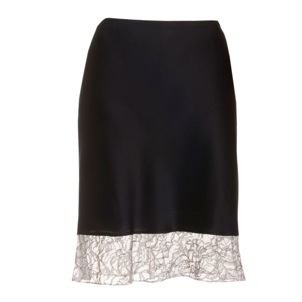 Roses Are Red - Estelle Silk Skirt In Black & White Lace