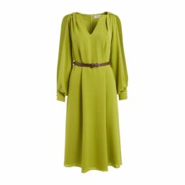 WtR - Valichka Green Silk Split Sleeve Belted Midi Dress
