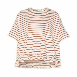 PAISIE - Oversized Striped Jersey Top With Ruffled Hem In White & Brown