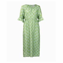 Asneh - Natalie Midi Silk Dress In Green With Blue Print