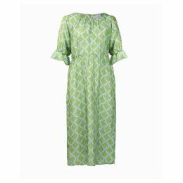 Asneh - Natalie Midi Silk Dress In Green With Blue Print
