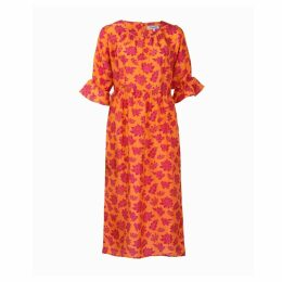 Asneh - Natalie Midi Silk Dress In Orange With Pink Purple Print