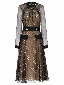 Prada semi-sheer polka dot dress - Brown