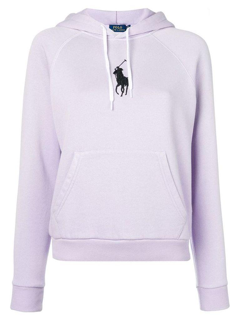 Ralph Lauren logo embellished hoodie - Purple