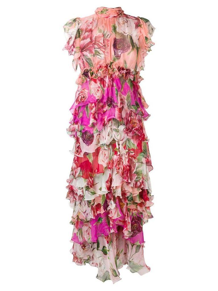 Dolce & Gabbana floral print evening dress - Pink