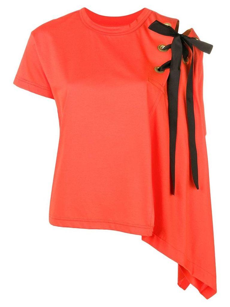 Sacai curved oversized T-shirt - Orange