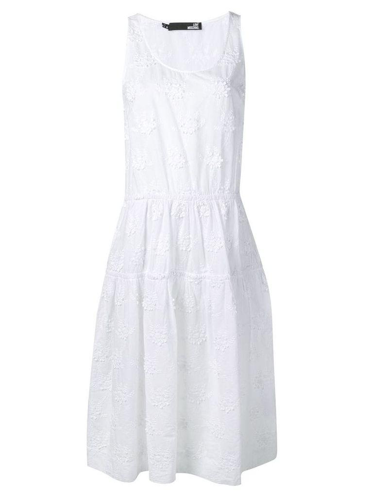 Love Moschino sleeveless flared dress - White