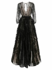Marchesa flared tulle panelled gown - Black