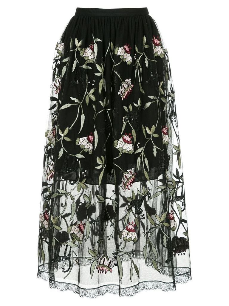 Markus Lupfer sheer floral print skirt - Black