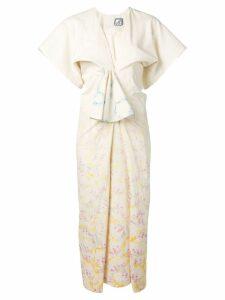 Anntian printed gathered dress - Neutrals