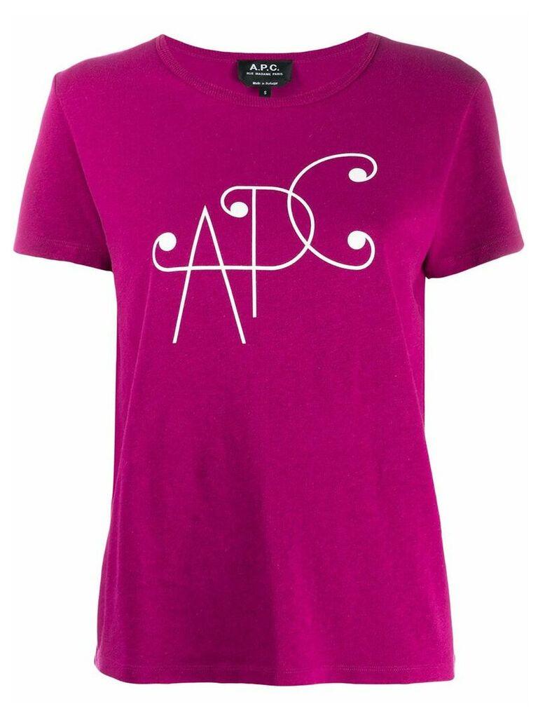 A.P.C. logo print T-shirt - Pink