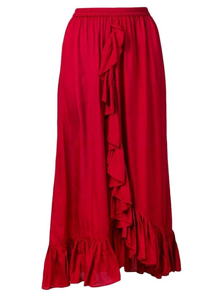Mes Demoiselles draped ruffle skirt - Red