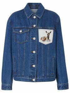 Burberry Deer Motif Japanese Denim Jacket - Blue