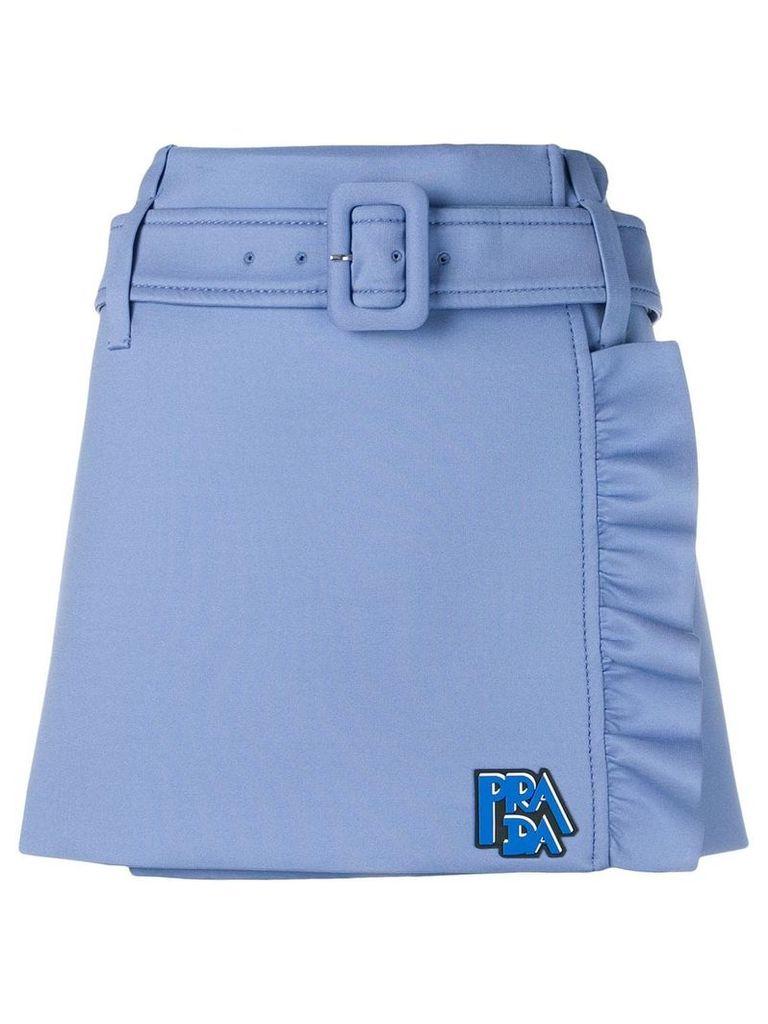 Prada technical jersey ruffle skirt - Blue