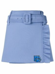 Prada technical jersey ruffle skirt - Blue