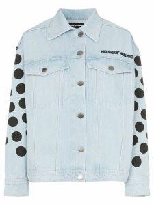 House of Holland polka-dot logo denim jacket - Blue