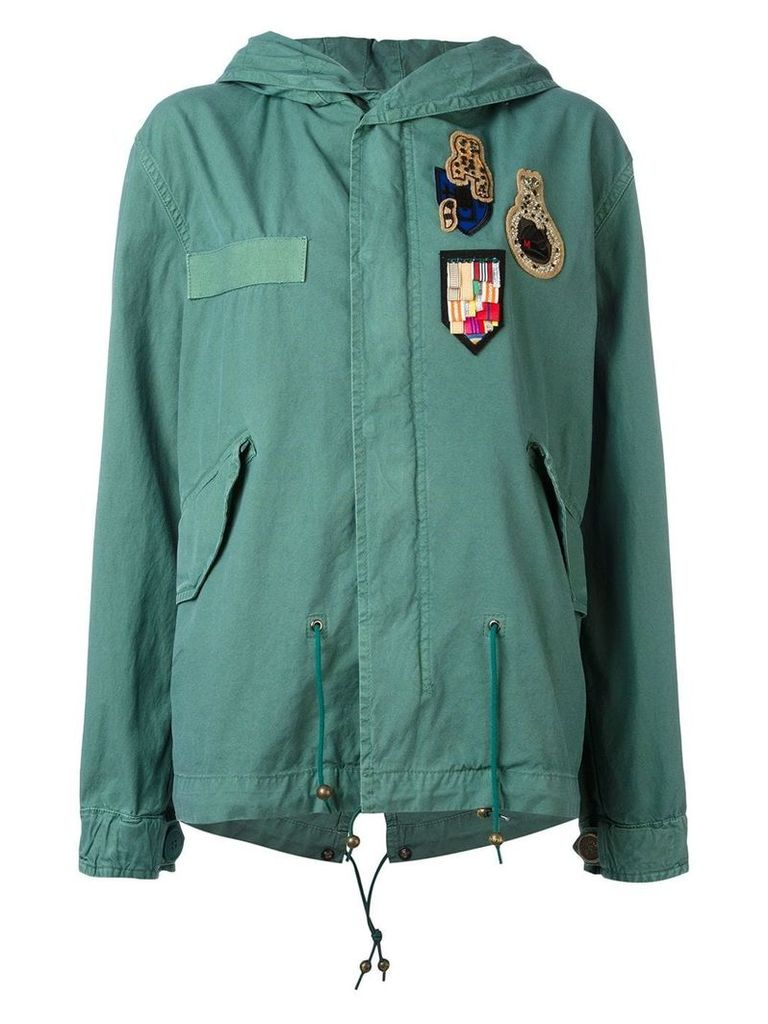 Mr & Mrs Italy multipatched short parka - Green