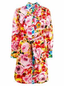 MSGM rose print shirt dress - Pink
