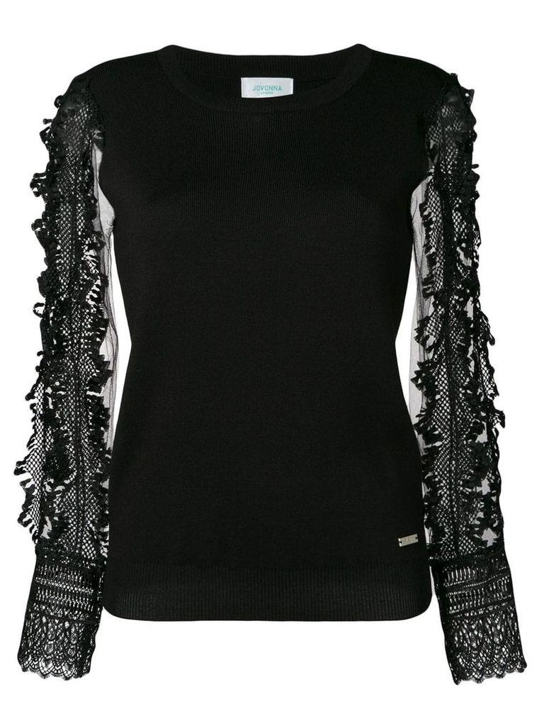 Jovonna embroidered sleeve top - Black