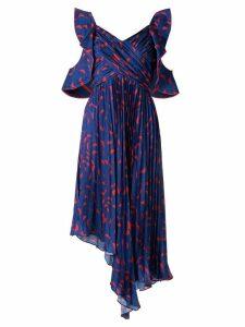 Self-Portrait pleated asymmetric print dress - Blue