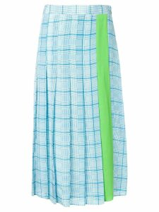 Essentiel Antwerp check pattern pleated skirt - Blue