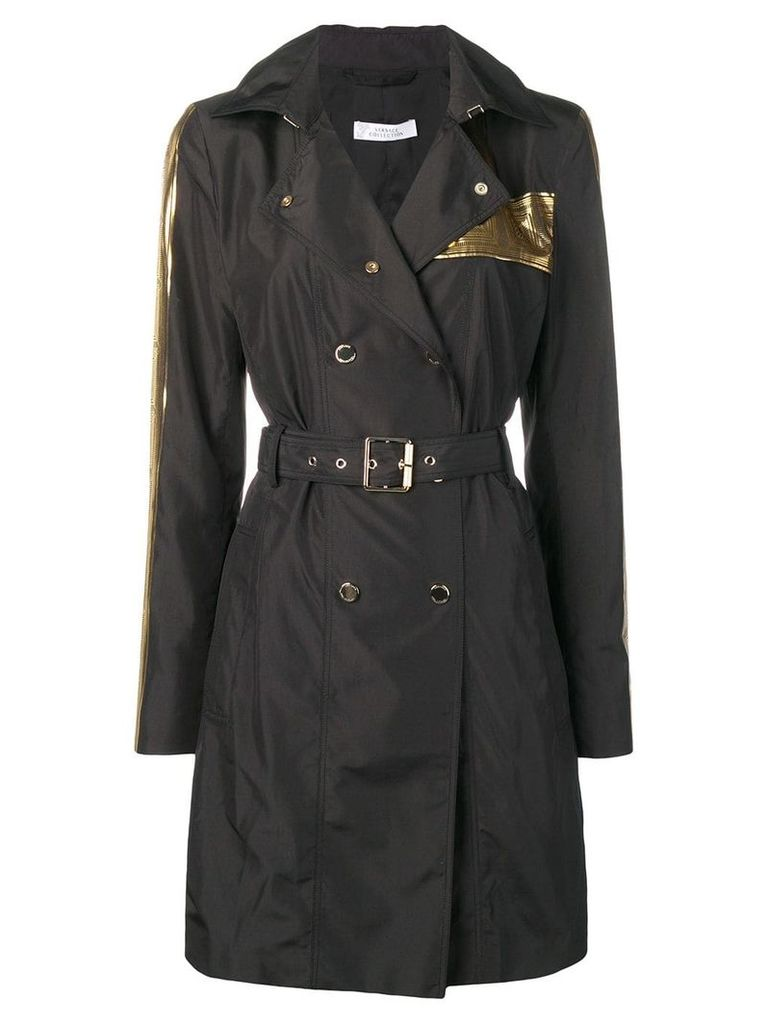 Versace Collection double breasted raincoat - Black