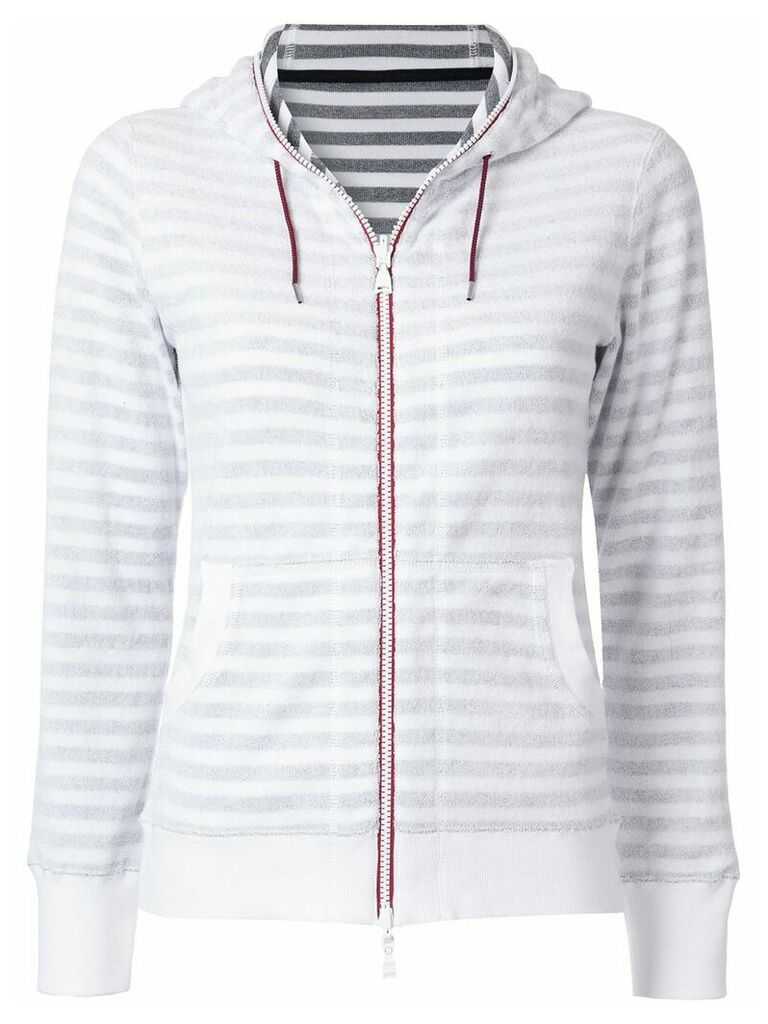 Loveless striped zip fleece hoodie - White