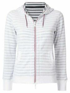 Loveless striped zip fleece hoodie - White